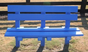 Four foot blue recycled plastic lumber bench with back image.
