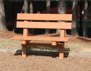 four foot recycled lumber bench with back image