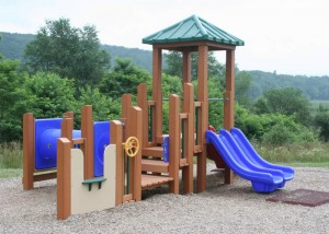 recycled plastic lumber framed play set image