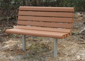 contoured bull nose recycled plastic lumber bench with back image