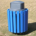 blue recycled plastic lumber framed trash receptacle