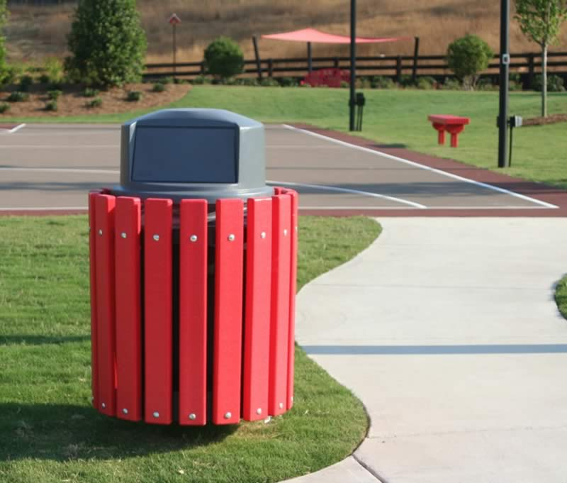 red recycled plastic lumber framed trash receptacle