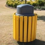yellow recycled plastic lumber framed trash receptacle