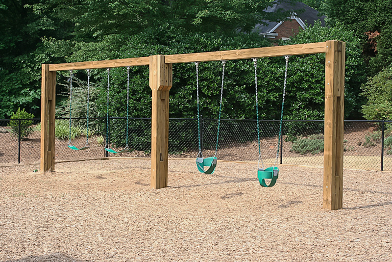 Green Play Parks wooden swing set image